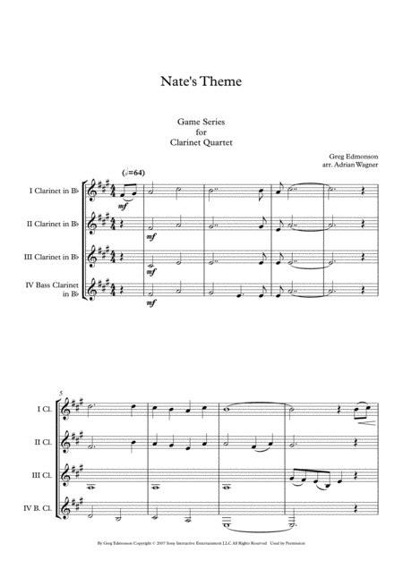 Uncharted Nates Theme Greg Edmonson Clarinet Quartet B Cl Arr Adrian Wagner  music sheet