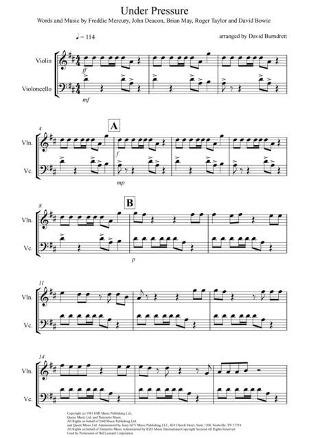Under Pressure For Violin And Viola Duet  music sheet