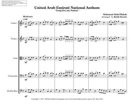 United Arab Emirati National Anthem For String Orchestra  music sheet