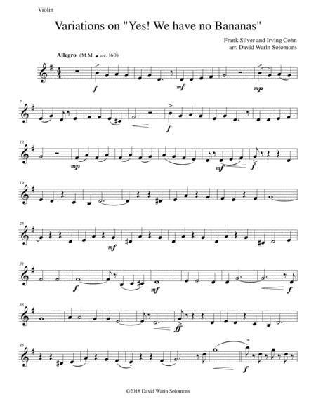 Variations On Yes We Have No Bananas For Violin And Viola  music sheet
