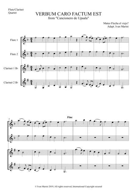 Verbum Caro Factum Est For Flute And Clarinet Quartet  music sheet
