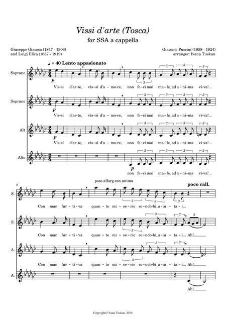 Vissi D Arte Tosca For Ssaa A Cappella E Flat Minor  music sheet