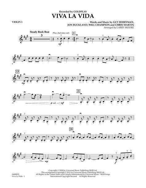 Viva La Vida Solo Violin Piano  music sheet