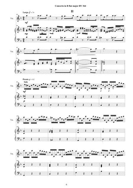 Vivaldi Violin Concerto In B Flat Major Rv 367 For Violin Strings And Cembalo  music sheet