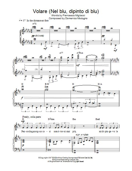 Volare Nel Blu Dipinto Di Blu Alto Saxophone Solo Chords Piano Accompaniment  music sheet