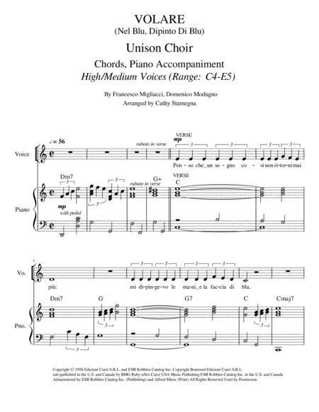 Volare Nel Blu Dipinto Di Blu Unison Choir High Medium Voices Chords Piano Accompaniment  music sheet