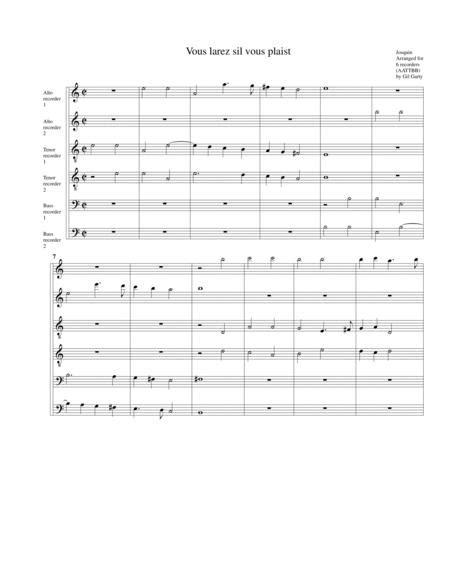 Vous Ne Laurez Pas Arragement For 6 Recorders  music sheet