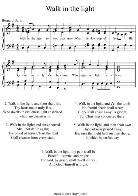 Walk In The Light A New Tune To A Wonderful Old Hymn  music sheet