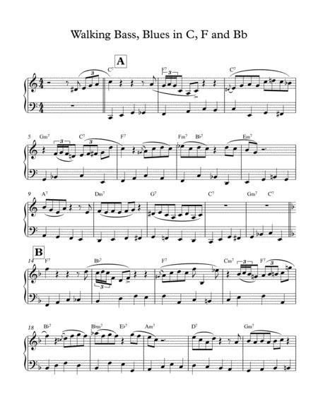 walking bass piano lesson music sheet