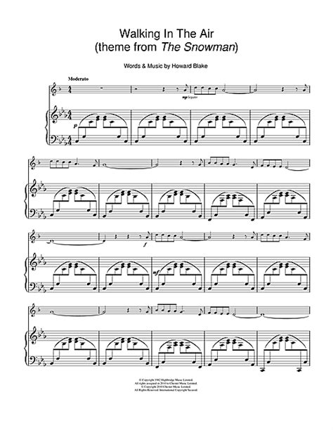 walking in the air theme from the snowman for clarinet and violin duet music sheet