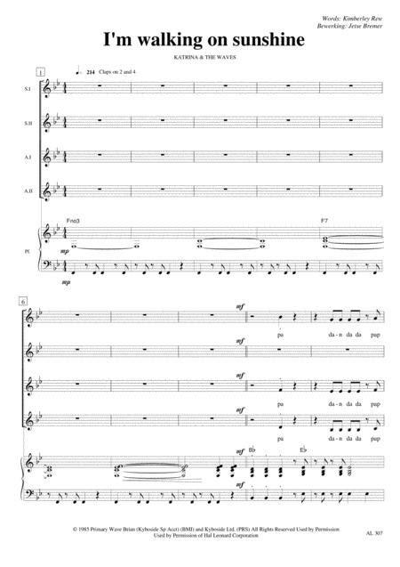 Walking On Sunshine Satb Piano music sheet