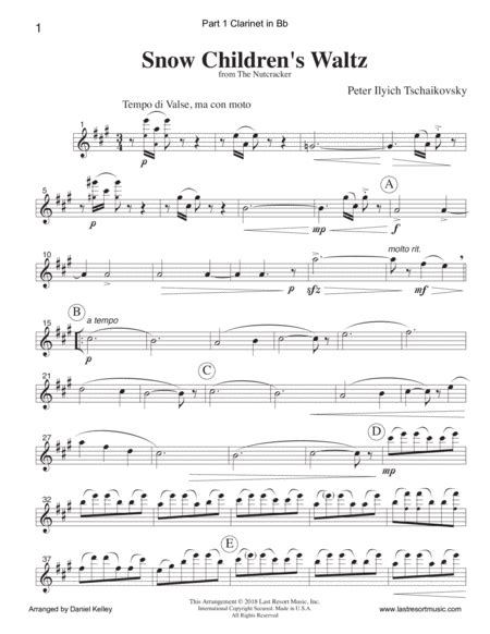 Waltz Of The Snowflakes Snow Childrens Waltz From The Nutcracker For Woodwind Trio Or Clarinet Trio  music sheet
