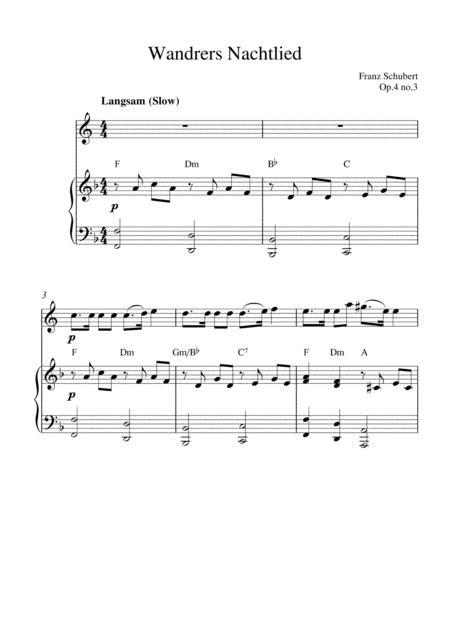 Wandrers Nachtlied Op 4 No 3 English Horn Solo And Piano Accompaniment  music sheet