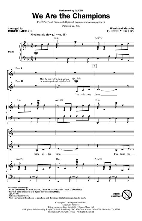 We Are The Champions For 2 Part Choir  music sheet