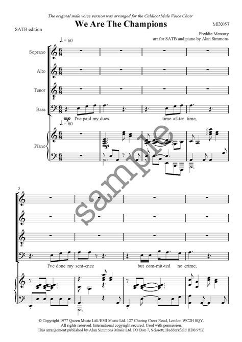 We Are The Champions For Satb  music sheet