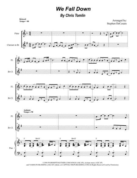 We Fall Down Duet For Flute And Bb Clarinet  music sheet