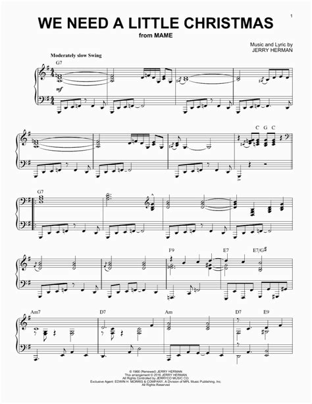 We Need A Little Christmas W Lyrics Violin  music sheet