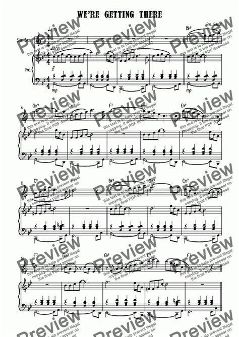 We Re Getting There Soprano Sax  music sheet