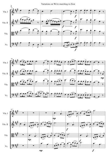 We Re Marching To Zion For String Quartet  music sheet