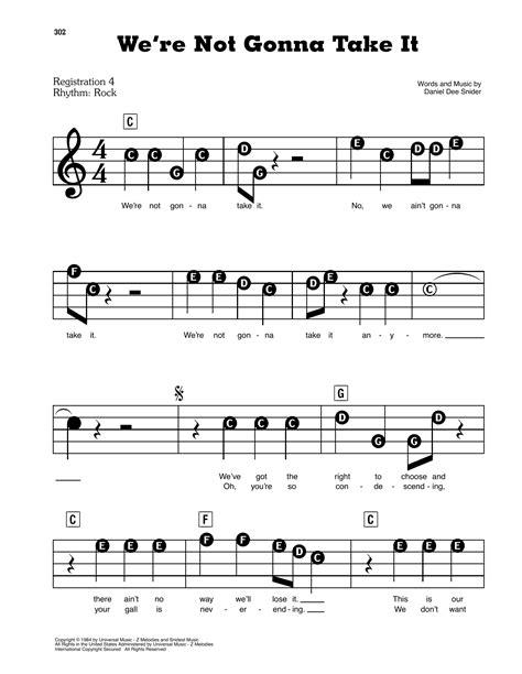 we re not gonna take it music sheet