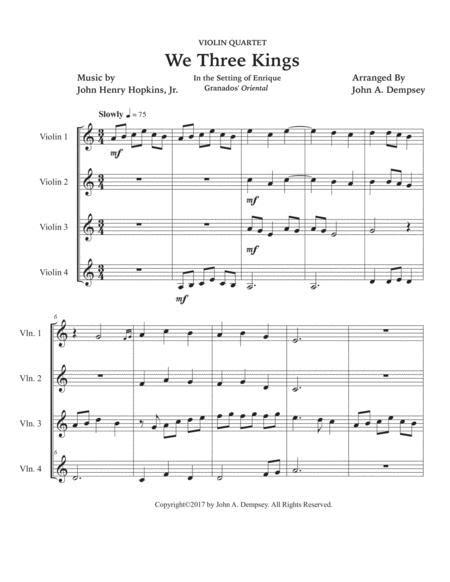 We Three Kings For Violin Quartet  music sheet