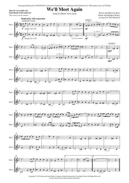 We Will Meet Again Vera Lynn Duet For Two Treble Clef Instruments In The Same Key G Major  music sheet
