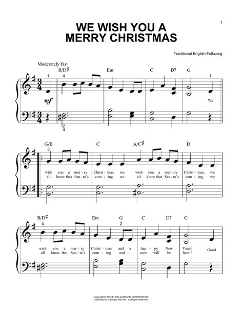 We Wish You A Merry Christmas For Piano Easy Beginner  music sheet