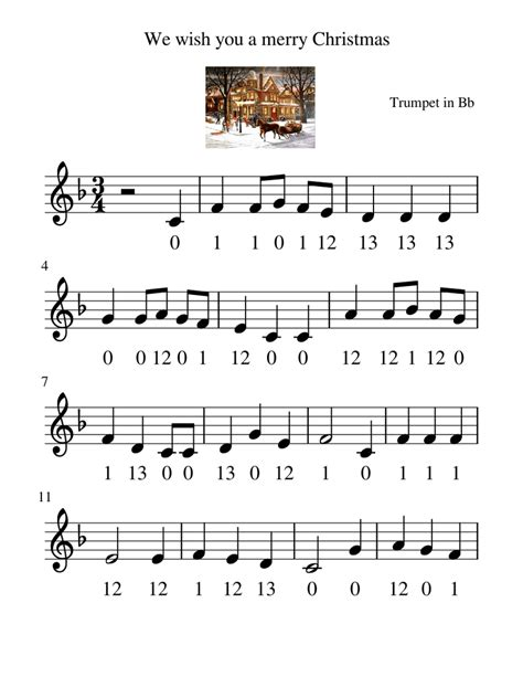 We Wish You A Merry Christmas Trumpet Solo  music sheet