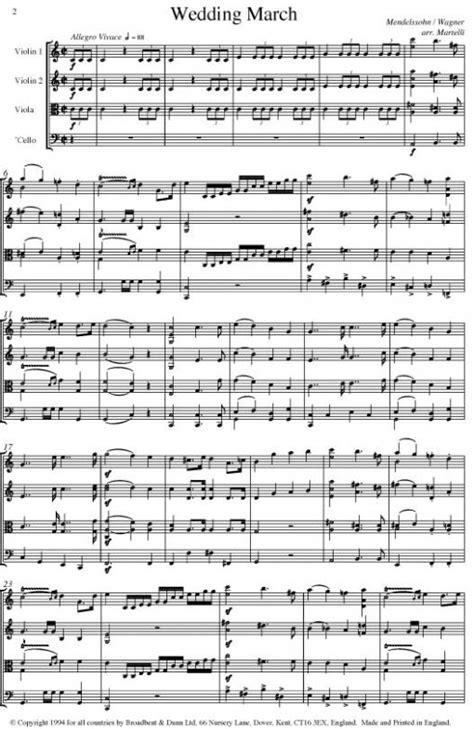 Wedding March String Quartet For String Quartet  music sheet