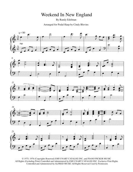 Weekend In New England Easy Pedal Harp Solo  music sheet