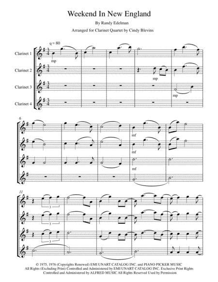 Weekend In New England For Clarinet Quartet  music sheet