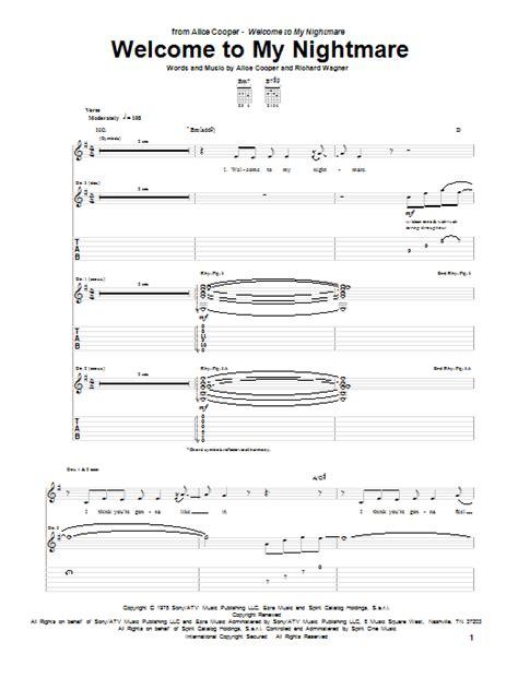 Welcome To My Nightmare  music sheet