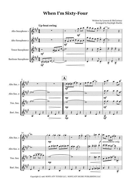 When I M Sixty Four By The Beatles Saxophone Quartet Aatb  music sheet