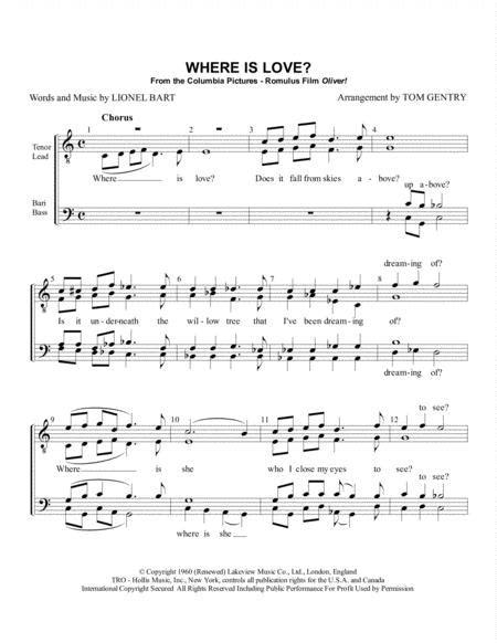 Where Is Love Ttbb  music sheet