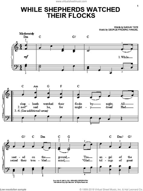 While Shepherds Watched Their Flocks By Night Handel For Easy Piano  music sheet
