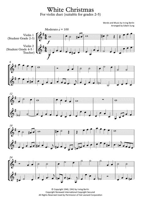 White Christmas Violin Duet Grades 2 5 Part Scores Included  music sheet