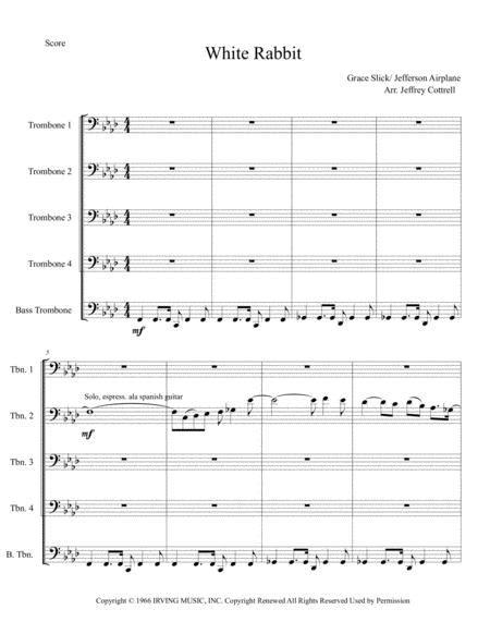 White Rabbit For Trombone Quintet  music sheet