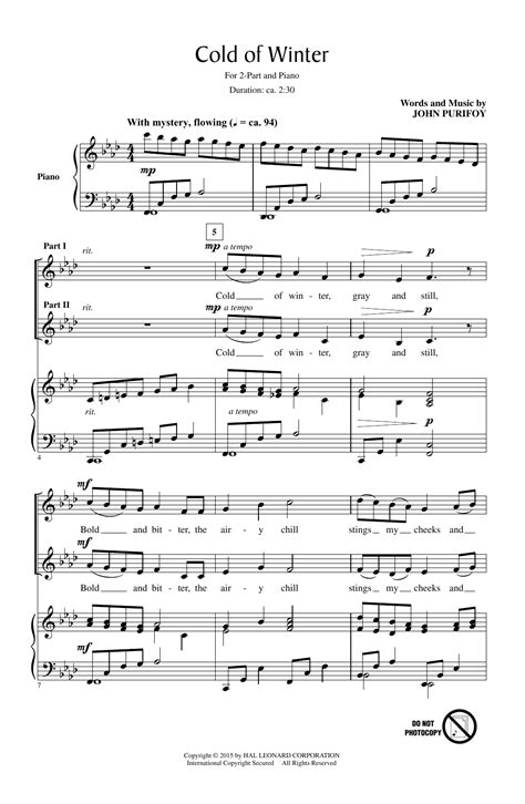 Winter Of Cold  music sheet