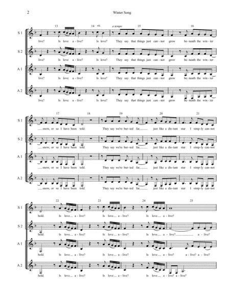 Winter Song Ssaa A Capella  music sheet