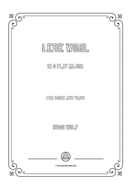 Wolf Lebe Wohl In E Major For Voice And Piano  music sheet