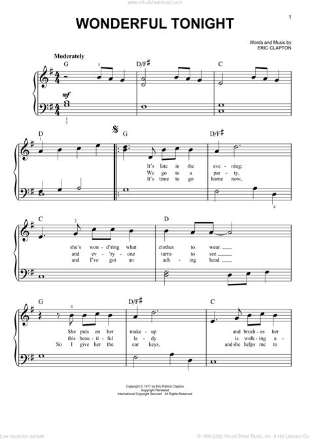 Wonderful Tonight Eric Clapton Brass Quartet music sheet