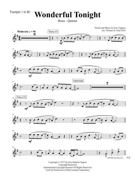 Wonderful Tonight G Eric Clapton Brass Quintet  music sheet