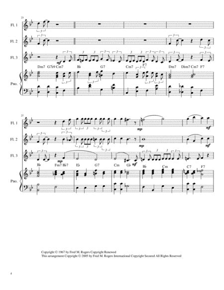 Wont You Be My Neighbor Its A Beautiful Day In The Neighborhood Flute Trio Chords Piano Accompaniment  music sheet