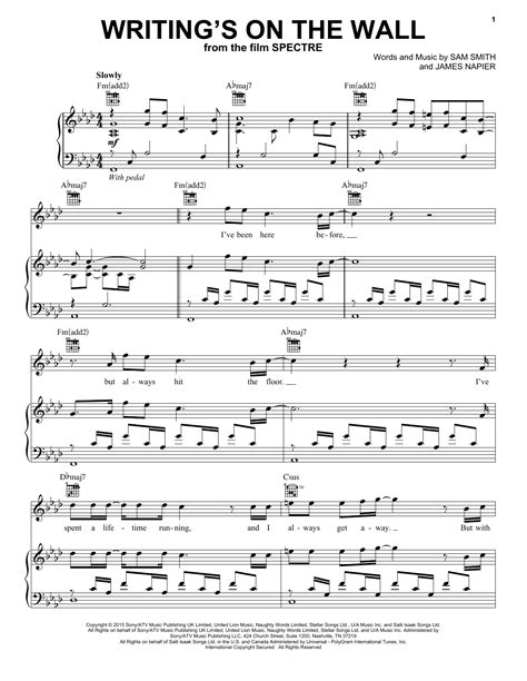 Writings On The Wall From The Film Spectre Trumpet  music sheet