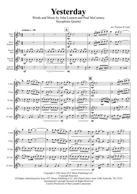 Yesterday By The Beatles Saxophone Quartet Aatb  music sheet