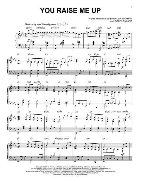 You Raise Me Up For Guitar And Piano Jazz Pop Version Video  music sheet