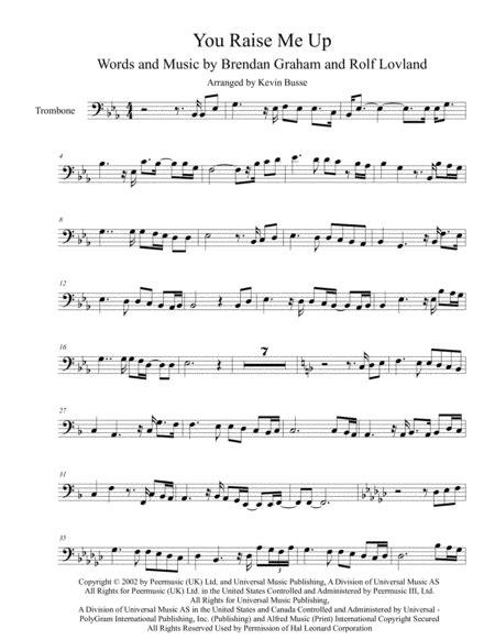 You Raise Me Up Original Key Trombone  music sheet
