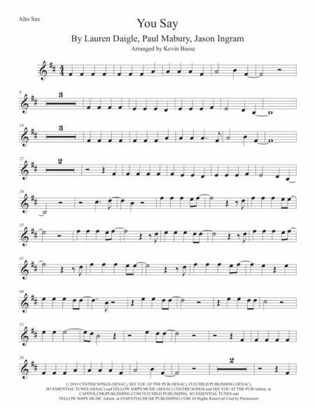 You Say Alto Sax Original Key  music sheet