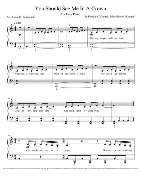 You Should See Me In A Crown Easy Piano  music sheet