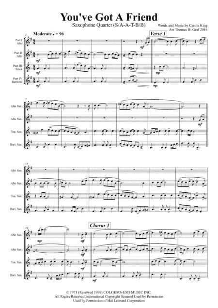 You Ve Got A Friend Carole King Saxophone Quintet  music sheet